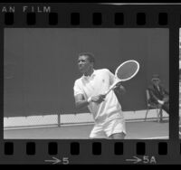 Arthur Ashe playing in the Southern California Sectional in Los Angeles, Calif., 1966