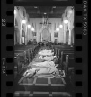 Homeless sleeping on floor of Council Chambers at City Hall, Los Angeles, 1987