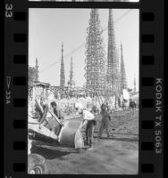 Motion picture filming crew at Watts Towers, Calif., 1986