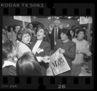 Gloria Molina and supporters celebrating after city council victory in Los Angeles, Calif., 1987