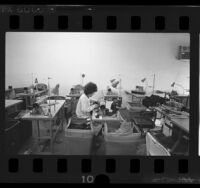 Vietnamese garment worker in sweatshop in San Gabriel Valley, Calif., 1987