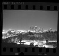 Nighttime skyline of downtown Los Angeles, Calif., 1987