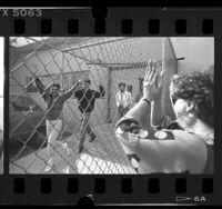 Three of the Los Angeles 8; Naim Sharif, Aiad Barakat and Bashar Amer leaving L.A. Federal Building, 1987