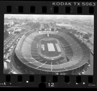 Aerial view of Los Angeles Memorial Coliseum, 1987