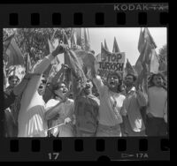 Demonstrators outside Turkish consulate on Armenian Genocide Day of Remembrance in Los Angeles, Calif., 1987
