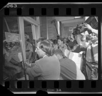 Activists trying to enter UCLA Medical School on World Day for Laboratory Animals, 1987