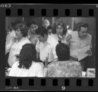 Immigrants at INS legalization processing center, during the 1987 U.S. Amnesty program, Los Angeles, Calif.