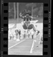 Jackie Joyner Kersee mid long jump at Pepsi Invitational in Los Angeles, Calif., 1987