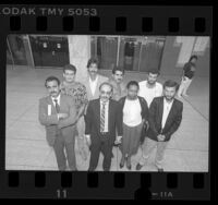 Group portrait of the Los Angeles 8, Arabs facing deportation in Calif., 1987