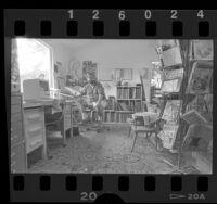 """Cartoonist Matt Groening in his """"Bat Cave"""" Venice Studio, Calif., 1987"""