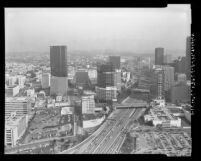 Cityscape of business district around Harbor Freeway in Los Angeles, 1987