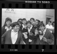 Students of St. Vincent School outside City Hall in Los Angeles, Calif., 1988
