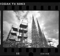 Scaffolding around Watts Towers in Watts, Calif., 1988
