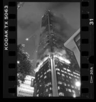 Fire in 62-story First Interstate Bank building in Los Angeles, Calif., 1988