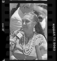 Gabrielino Indian, Vera Rocha speaking to reporters, Los Angeles, Calif., 1988