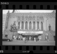 Façade of the Mayan Theatre in Los Angeles, Calif., 1988