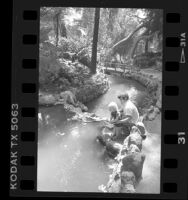 Zoly Cubias and friend along Fern Dell stream in Griffith Park, Los Angeles, 1988