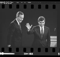 George W. H. Bush and Michael Dukakis at presidential debate at UCLA, 1988
