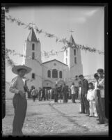 Mexican American children gathered outside Our Lady of of Lourdes Catholic Church, Los Angeles, Calif., 1946