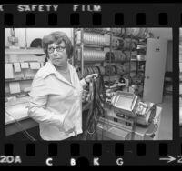 Film editor Verna Fields in her editing room in Los Angeles, Calif., 1975