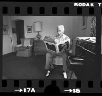 Nick Lucas, jazz guitarist and singer, at his home in Los Angeles, Calif., 1975