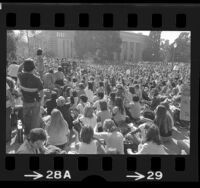 "Crowd listening to speaker during ""Alice Doesn't Day"" rally at UCLA, 1975"