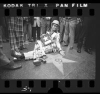 Elton John receiving his star on the Hollywood Walk of Fame, Hollywood (Los Angeles), 1975