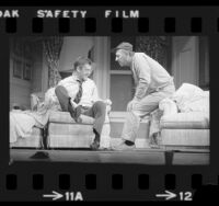 "Tony Randall and Jack Klugman in theater production of ""The Odd Couple"" at the Shubert Theater in Los Angeles, Calif., 1975"