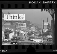 Billboards and traffic along the Sunset Strip in Hollywood, Calif., 1975