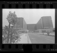 Exterior view of Cedars-Sinai Medical Center in Los Angeles, Calif., 1976