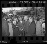 Tom and Ethel Bradley greeting King Hussein and Queen Alia of Jordan in Los Angeles, Calif., 1976