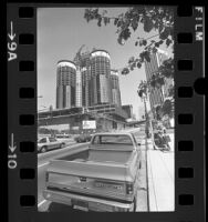 Construction of the Bonaventure Hotel in downtown Los Angeles, Calif., 1976
