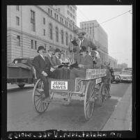 "Los Angeles' Union Rescue Mission's annual ""Gospel Wagon"" ride thru downtown Los Angeles, Calif., 1961"