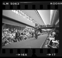 Fashion show at Pacific Design Center, Harriet Selwyn design shown, Los Angeles, Calif., 1976