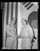 Yong Hak Park and Cheung Keun Lee, Korean American scout interpreters for U.S. Marines returning to Los Angeles, Calif. in 1943