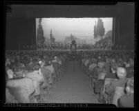 Meeting at Shrine Auditorium of striking Los Angeles Municipal Water and Power workers in 1944