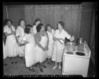 Women watching cooking class in WPA Household Employees training, circa 1937