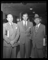 "Benjamin ""Bugsy"" Siegel with his attorneys, Max Solomon, and Isaac Pacht, circa 1944"