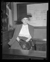 Louise Peete on witness stand during her murder trial in Los Angeles, Calif., 1945