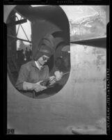 Ship welder Dorothy Anderson at work, circa 1945