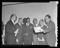Six participants in the 1945 Interracial Choral Festival at the Hollywood Bowl in Los Angeles, Calif.