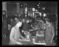 Bread and soup line at the Los Angeles Midnight Mission on Thanksgiving Day 1937