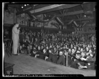 Bob Hope performing for servicemen at the Hollywood Guild and Canteen in 1945