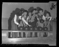 Five Chinese American women bowlers, circa 1945