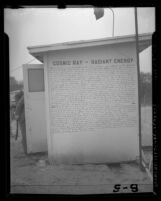 "Ralph Hylton's ""Cosmic Ray Radiant Energy"" sign posted on his cosmic ray health center near Long Beach, Calif. in 1946"