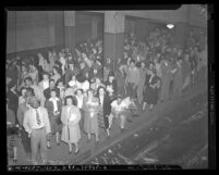Crowd waiting on Pacific Electric Railway platform during 1946 Los Angeles Transit Lines strike