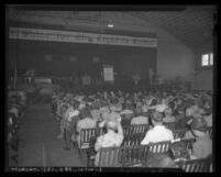 Audience watching lecture at 1946 Seventh Day Adventists camp meeting in Lynwood, Calif.
