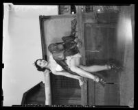 Al G. Barnes-Sells Floto Circus woman performer seated with chimpanzee