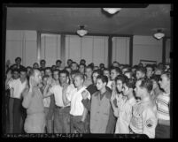 United States Army recruits taking pledge in 1946