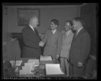 Los Angeles Mayor Fletcher Bowron meeting with Mike Masaoka, Eiji E. Tanabe and Scotty Tsuchiyam, Los Angeles, 1946